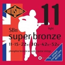 Rotosound SB11 Super Bronze Phosphor Bronze Acoustic Guitar Strings 11-52 Light