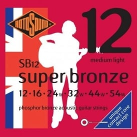 Rotosound SB12 Super Bronze Phosphor Bronze Acoustic Guitar Strings 12-54 Medium Light
