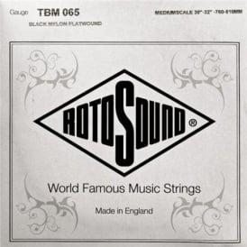 Rotosound TBM065 Tru Bass Black Nylon Flatwound Bass Guitar Single String .065 Medium Scale