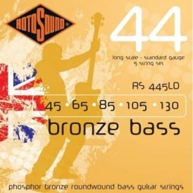 Rotosound RS445LD Bronze Bass Phosphor Bronze Roundwound Bass Guitar Strings 45-130 5-String Long Scale