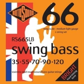 Rotosound RS665LB Swing Bass Stainless Steel Roundwound Bass Guitar Strings 35-120 5-String Long Scale