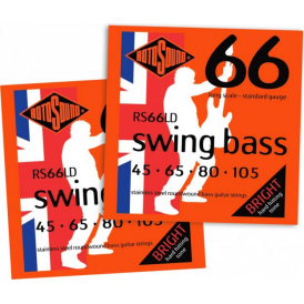 Rotosound RS66LD 4-String Swing Bass Stainless Steel Bass Guitar Strings 45-105 2-PACK Bundle
