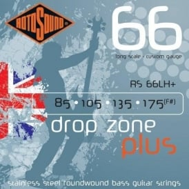 Rotosound RS66LH+ Drop Zone Plus Stainless Steel Roundwound Bass Guitar Strings 85-175 Long Scale