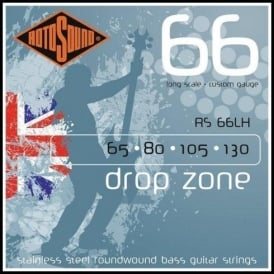 Rotosound RS66LH Drop Zone Stainless Steel Roundwound Bass Guitar Strings 65-130 Long Scale