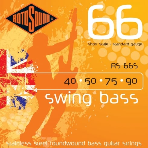 Rotosound RS66S 4-String Swing Bass Stainless Steel 40-90 Short Scale Roundwound Bass Guitar Strings