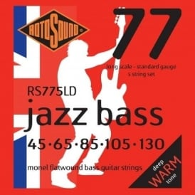 Rotosound RS775LD Jazz Bass Monel Flatwound Bass Guitar Strings 45-130 5-String Long Scale