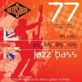 Rotosound RS77EL Jazz Bass Monel Flatwound Bass Guitar Strings 45-105 Extra Long Scale