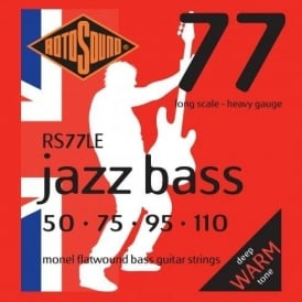 Rotosound RS77LE Jazz Bass Monel Flatwound Bass Guitar Strings 50-110 Long Scale