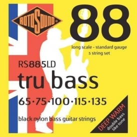 Rotosound RS885LD Tru Bass Black Nylon Flatwound Bass Guitar Strings 65-135 5-String Long Scale