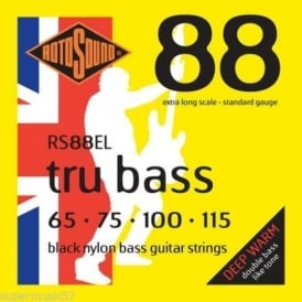 Rotosound RS88EL Tru Bass Black Nylon Flatwound Bass Guitar Strings 65-115 Extra Long Scale