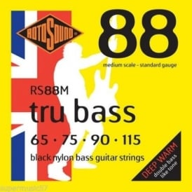 Rotosound RS88M Tru Bass 4-String Black Nylon Flatwound Bass Guitar Strings 65-115 Medium Scale