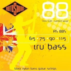 Rotosound RS88S Tru Bass Black Nylon Flatwound Bass Guitar Strings 65-115 Short Scale