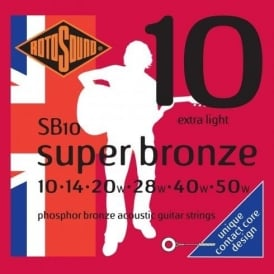 Rotosound SB10 Super Bronze Phosphor Bronze Acoustic Guitar Strings 10-50 Extra Light