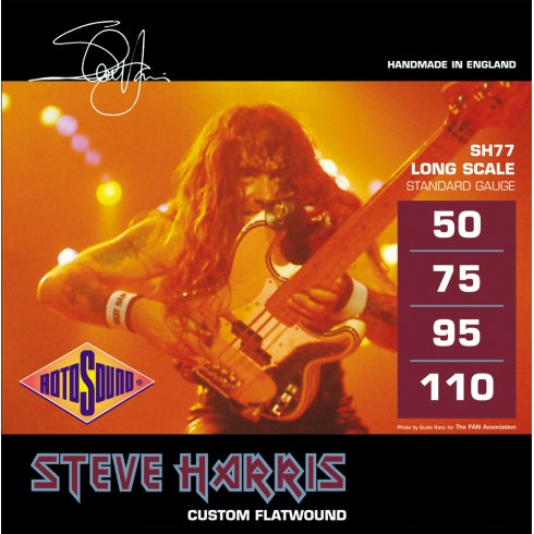 Rotosound SH77 Steve Harris Signature Monel Flatwound Bass Guitar Strings 50-110 Long Scale