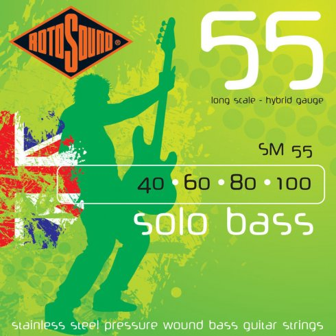 Rotosound SM55 Solo Bass Stainless Steel Pressure Wound Bass Guitar Strings 40-100 Long Scale