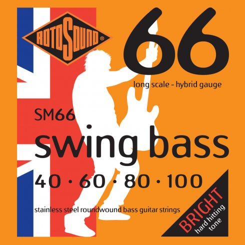 Rotosound SM66 4-String Swing Bass Stainless Steel Roundwound Bass Guitar Strings 40-100 Long Scale