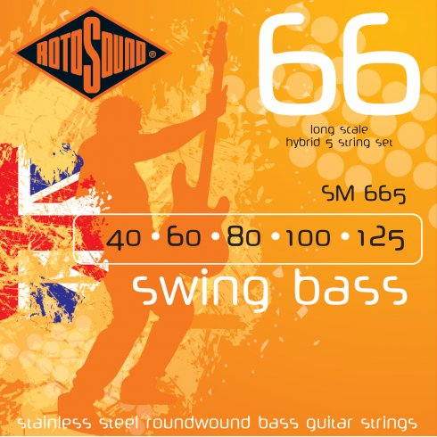 Rotosound SM665 5-String Swing Bass Stainless Steel Roundwound Bass Guitar Strings 40-125 Long Scale