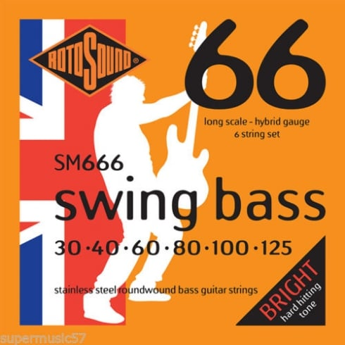 Rotosound SM666 Swing Bass Stainless Steel Roundwound Bass Guitar Strings 30-125 6-String Long Scale