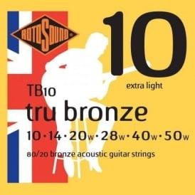Rotosound TB10 Tru Bronze 80/20 Bronze Acoustic Guitar Strings 10-50