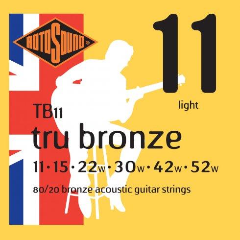Rotosound TB11 Tru Bronze 80/20 Bronze Acoustic Guitar Strings 11-52