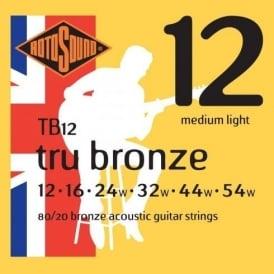 Rotosound TB12 Tru Bronze 80/20 Bronze Acoustic Guitar Strings 12-54