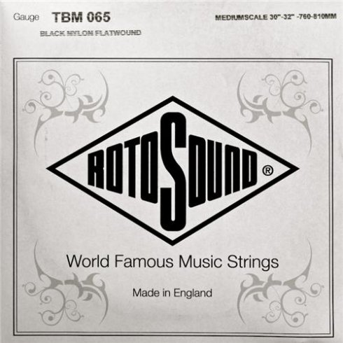 Rotosound TBM065 Tru Bass Black Nylon Flatwound Bass Guitar Single String .065 Medium Scale