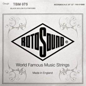 Rotosound TBM075 Tru Bass Black Nylon Flatwound Bass Guitar Single String .075 Medium Scale