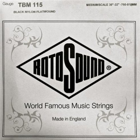 Rotosound TBM115 Tru Bass Black Nylon Flatwound Bass Guitar Single String .115 Medium Scale