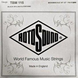 Rotosound TBM115 Tru Bass Black Nylon Flatwound Bass Guitar Single String .115 Medium Scale