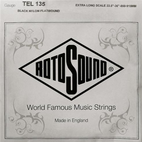 Rotosound TEL135 Tru Bass Black Nylon Flatwound Bass Guitar Single String .135 Extra Long Low B