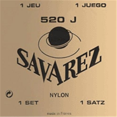 Savarez 520J Yellow Card Silver Wound Basses with Recified Nylon Trebles Classical Guitar Strings Very High Tension