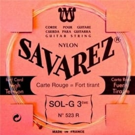 Savarez 523R Red Card Rectified Nylon High Tension Classical Guitar Single String 3-G