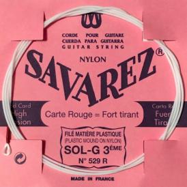 Savarez 529R Red Card Plastic Wound on Nylon Single String, G-3rd