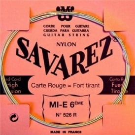 Savarez 526R Red Card Silver Wound High Tension Classical Guitar Single String 6-E