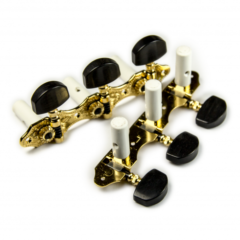 Hauser Classical Machine Heads, 3-a-Side, Gold with Ebony Buttons