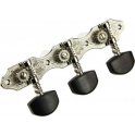 Schaller Hauser Classical Machine Heads, 3-a-Side, Nickel with Ebony Buttons