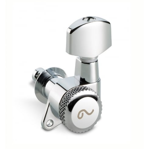 M6 Locking Machine Heads, Screw Mount, 6-in-Line, Chrome, Lefthanded