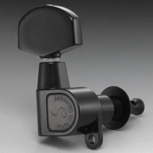 Schaller M6 Right-Handed Machine Heads, Screw Mount, 6-in-Line, Black