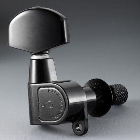 Schaller M6 Toplocking Machine Heads, Screw Mount, 6-in-Line, Black Chrome