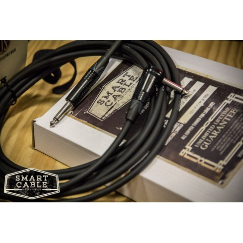 "Smart Cable Instrument Guitar Cable 15ft Lead - 1/4"" Straight-Straight Jacks - Handmade in the UK - Neutrik Connectors + FREE Velcro Cable Tie"