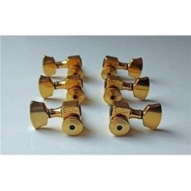 Sperzel Trim-Lok Locking 3-a-Side Gold Machineheads for Guitar
