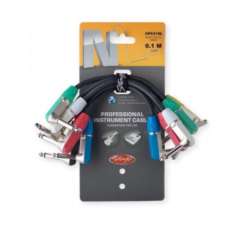 Stagg 10cms Pro Patch Cables Assorted Colours 6-Pack
