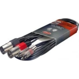 Stagg 3m/10ft 2 x RCA Male to 2 x XLR Male Cable