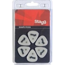 Stagg 6 Pack of Standard Shape Picks 0.60mm - white