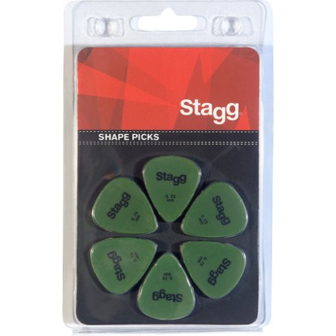 Stagg 6 Pack of Standard Shape Picks 0.73mm - green