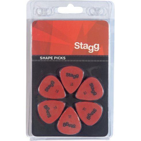 Stagg 6 Pack of Standard Shape Picks 1.00mm - red