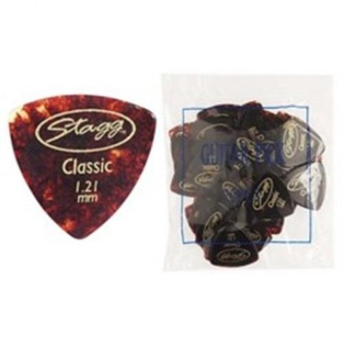 Stagg Classic Elliptic Torstoise Shell Guitar Picks Bag of 72 .46mm