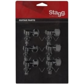 Stagg KG673 6-in-line Individual Electric Guitar Machineheads Black Set of 6