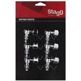 Stagg KG673 6-in-line Individual Electric Guitar Machineheads Chrome Set of 6