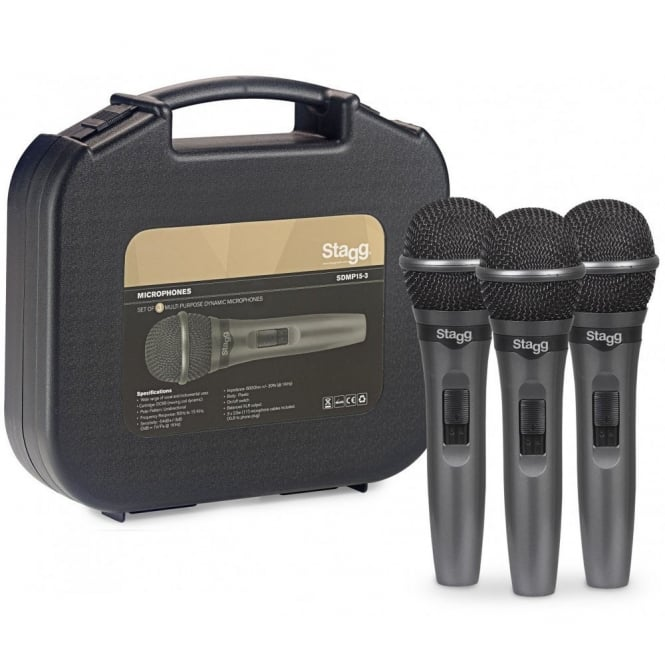 SDMP15-3 Set of 3 Live Stage Dynamic Microphones